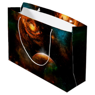 Awesome universe with planet and stars large gift bag