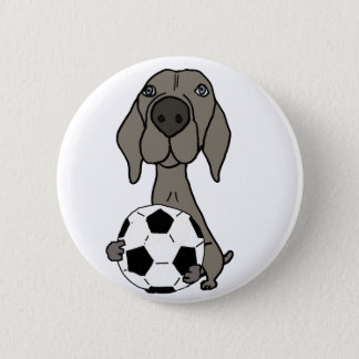 Awesome Weimaraner Dog Playing Soccer 2 Inch Round Button