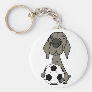 Awesome Weimaraner Dog Playing Soccer Basic Round Button Keychain