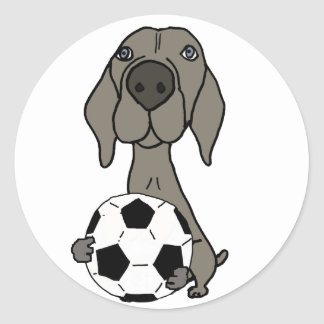 Awesome Weimaraner Dog Playing Soccer Classic Round Sticker