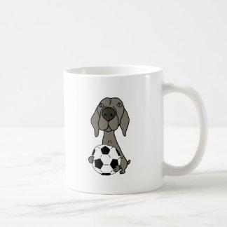 Awesome Weimaraner Dog Playing Soccer Coffee Mug
