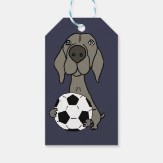 Awesome Weimaraner Dog Playing Soccer Gift Tags