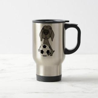 Awesome Weimaraner Dog Playing Soccer Travel Mug