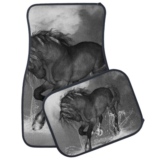 Awesome wild horse car carpet