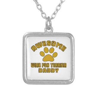 AWESOME WIRE FOX TERRIER DADDY SILVER PLATED NECKLACE