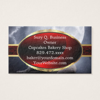 Awesome Wolf and Moon White Wolf Business Card