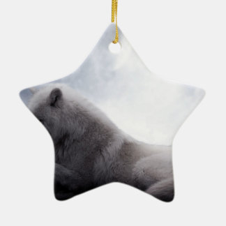 Awesome Wolf and Moon White Wolf Ceramic Star Ornament