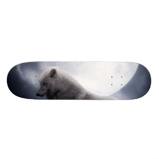 Awesome Wolf and Moon White Wolf Skateboard Decks