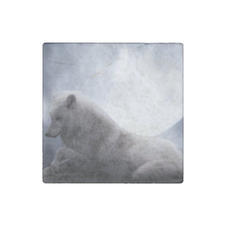Awesome Wolf and Moon White Wolf Stone Magnets