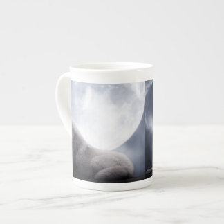 Awesome Wolf and Moon White Wolf Tea Cup