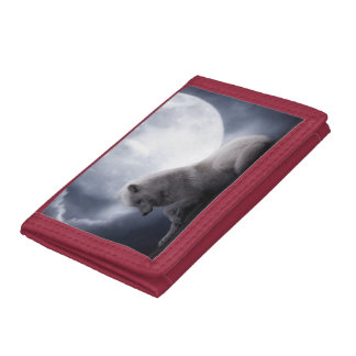 Awesome Wolf and Moon White Wolf Tri-fold Wallets