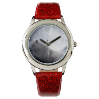 Awesome Wolf and Moon White Wolf Watches