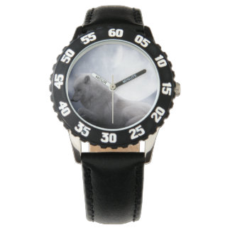 Awesome Wolf and Moon White Wolf Wrist Watches