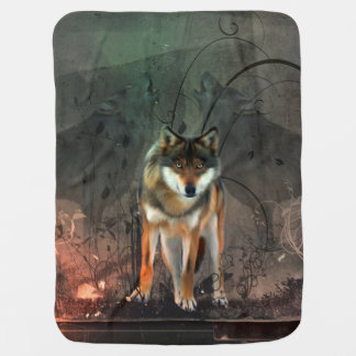 Awesome wolf on vintage background baby blanket
