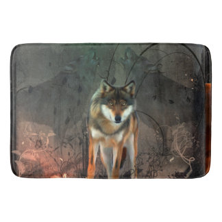 Awesome wolf on vintage background bath mat