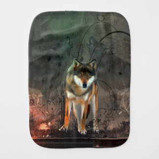 Awesome wolf on vintage background burp cloth