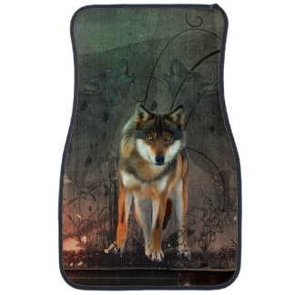 Awesome wolf on vintage background car carpet