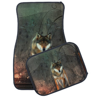 Awesome wolf on vintage background car mat