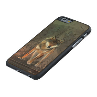 Awesome wolf on vintage background carved maple iPhone 6 case