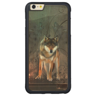 Awesome wolf on vintage background carved maple iPhone 6 plus bumper case