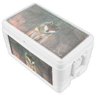 Awesome wolf on vintage background cooler