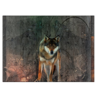 Awesome wolf on vintage background cutting board