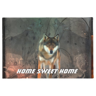 Awesome wolf on vintage background doormat