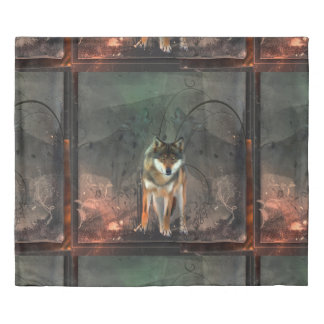 Awesome wolf on vintage background duvet cover