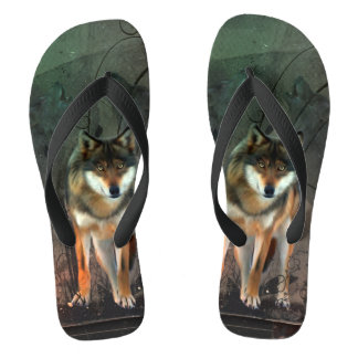 Awesome wolf on vintage background flip flops