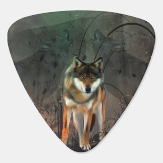 Awesome wolf on vintage background guitar pick