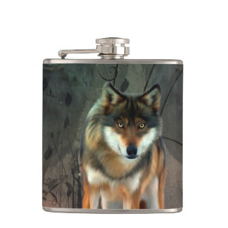 Awesome wolf on vintage background hip flask