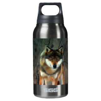 Awesome wolf on vintage background insulated water bottle