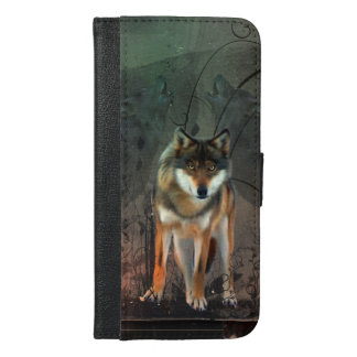Awesome wolf on vintage background iPhone 6/6s plus wallet case