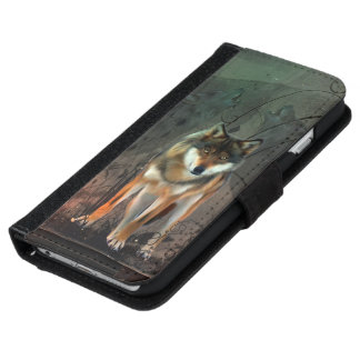 Awesome wolf on vintage background iPhone 6 wallet case