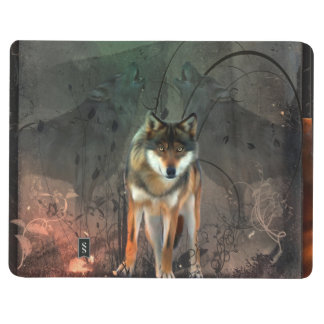 Awesome wolf on vintage background journal