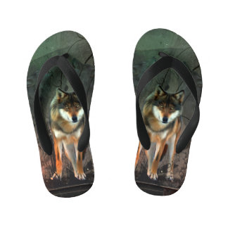 Awesome wolf on vintage background kid's flip flops