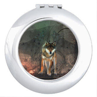 Awesome wolf on vintage background makeup mirror