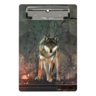 Awesome wolf on vintage background mini clipboard