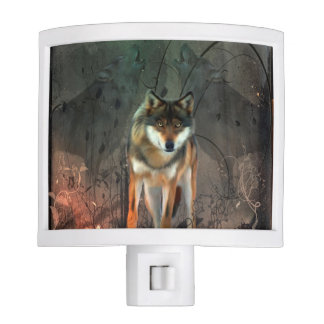 Awesome wolf on vintage background night lites