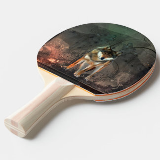 Awesome wolf on vintage background ping pong paddle
