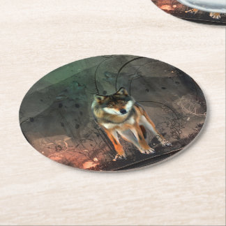 Awesome wolf on vintage background round paper coaster