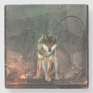 Awesome wolf on vintage background stone coaster