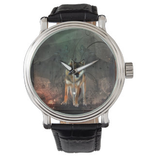 Awesome wolf on vintage background watch