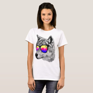 Awesome Wolf With Glasses T-Shirt