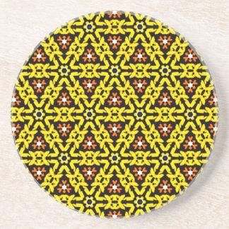 Awesome Yellow and Orange Filigree Pattern Coaster