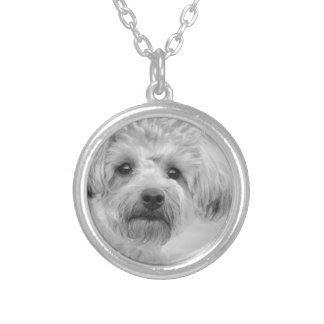 Awesome  Yorkie Poo in Sepia Tones Silver Plated Necklace