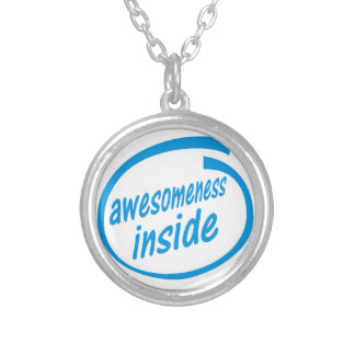 awesomeness inside silver plated necklace