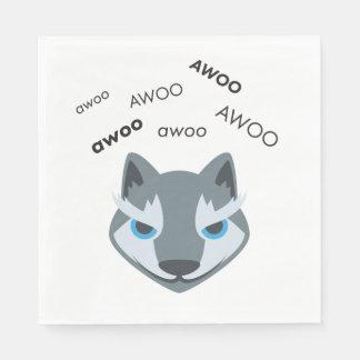 Awoo Wolf Cute Emoji Paper Napkin