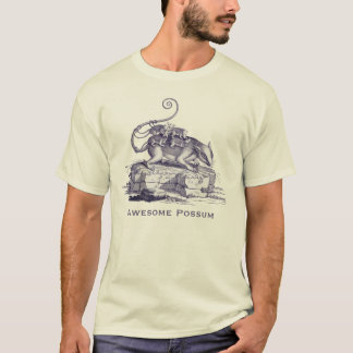 Awsome Possum - Opossom with Babies on Back T-Shirt