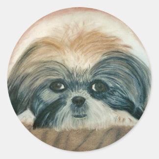 Awww cute doggie round sticker
